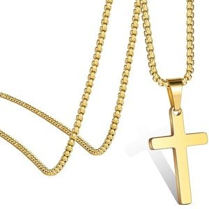 14k Yellow Gold Cross Pendant Box Chain Necklace